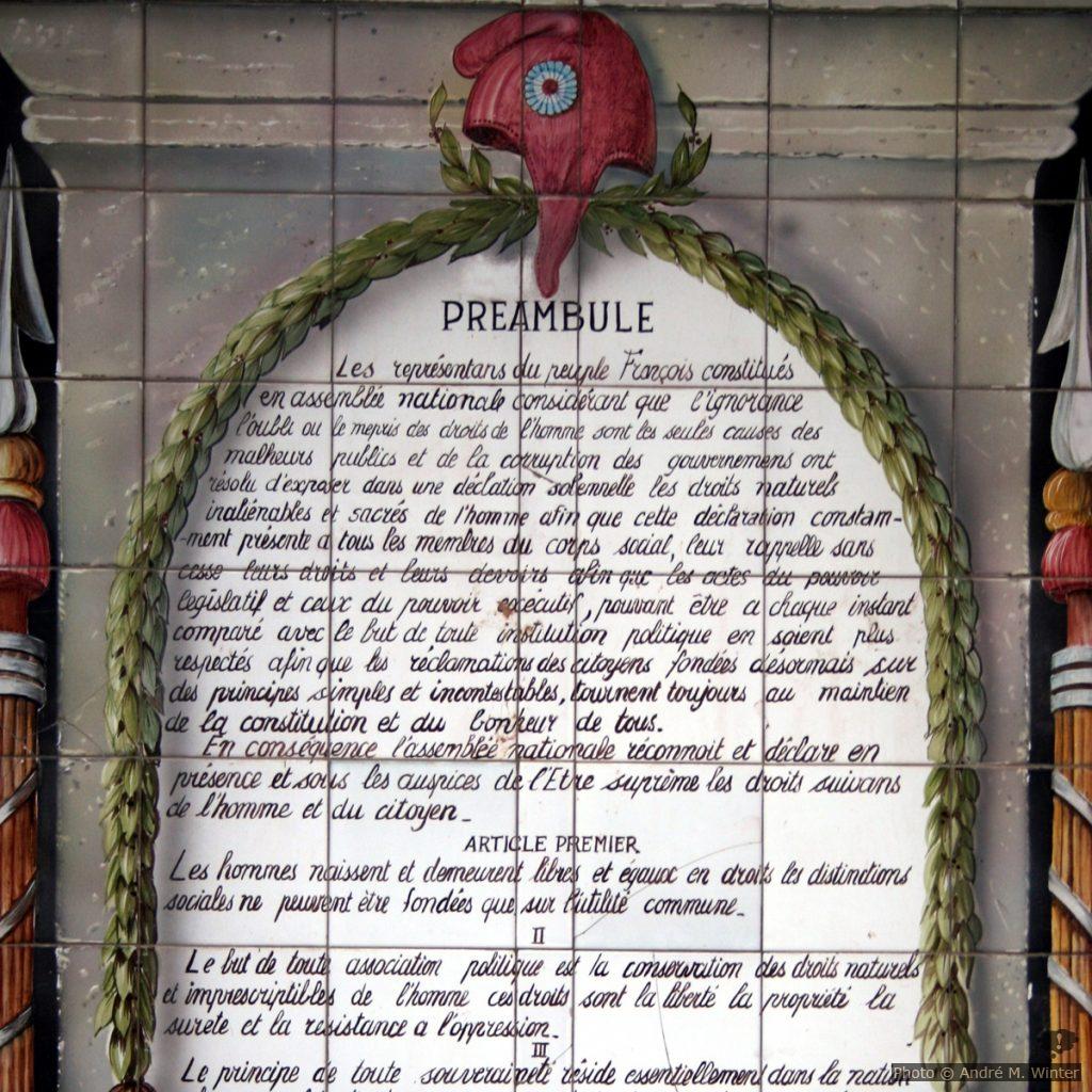 Déclaration des Droits de l'Homme à Barjols, plaque gauche