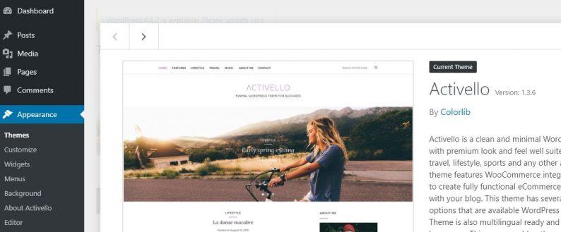 Screenshot des Themas Activello im WordPress-Backend