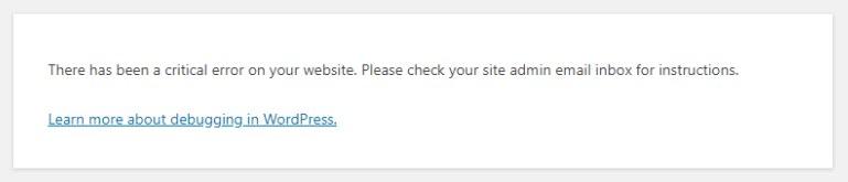 Gravierender WordPress-Fehler mit Debug-Link