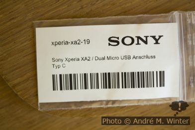 Verpackung Sony USB-C Anschluss