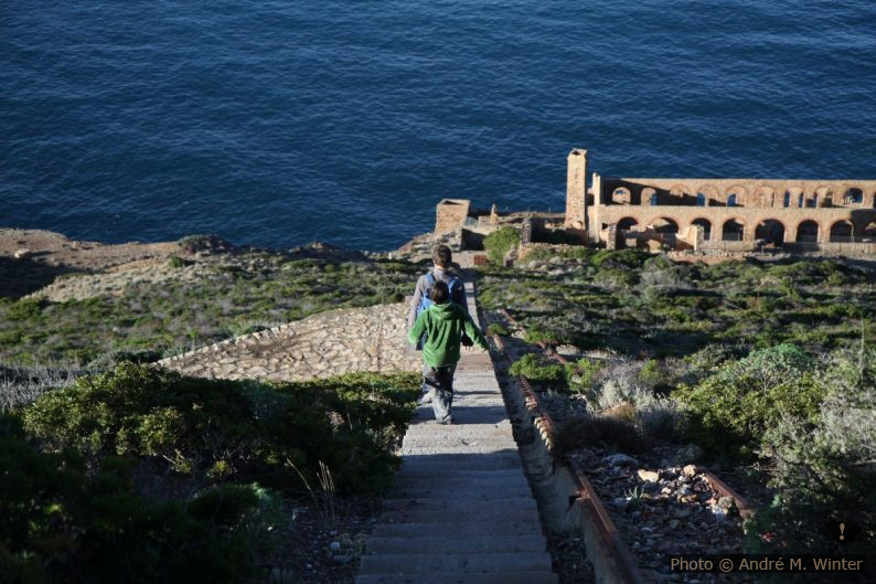 Nicolas et André descendent les marches vers de la Laverie Larmamora