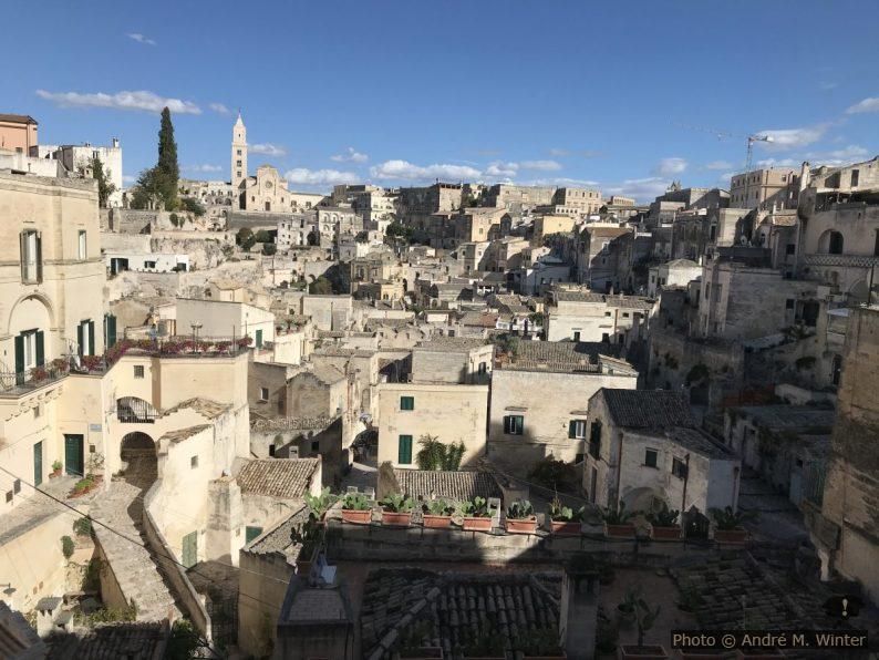 Vue sur le Sasso Barisano à Matera