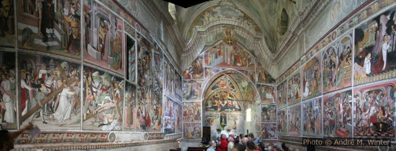 Panorama intérieur des fresques de Notre-Dame-des-Fontaines